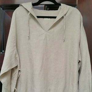 Tops - Linen shirt with hoodie. Oversize